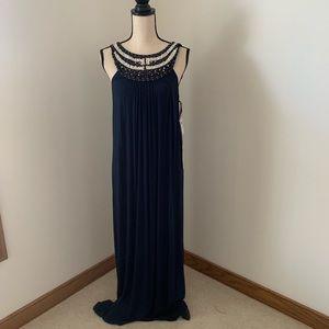 Muse Sz 12 Navy Maxi Dress w/beaded neck detail